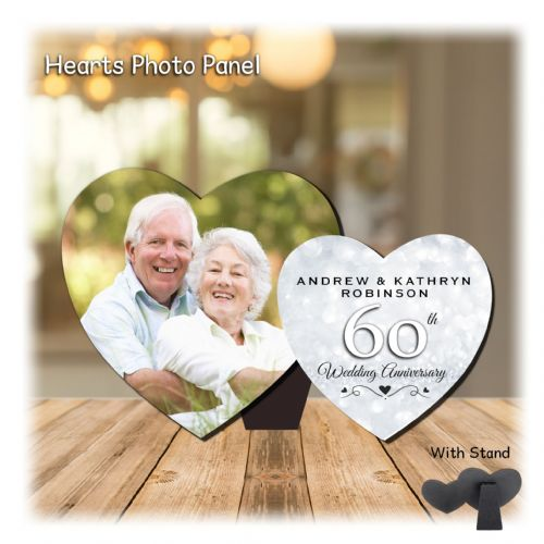 Personalised MDF Hearts Photo Wood Panel Print N12 - Diamond 60th  Wedding Anniversary Keepsake Gift